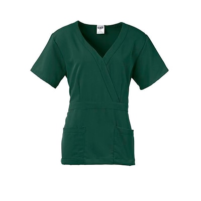 Park AVE.™ Mock Wrap Ladies Scrub Top, Hunter Green, 3XL