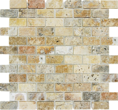"""MSI Tuscany Scabas 1"""" x 2"""" Travertine Mosaic Tile in Beige"""