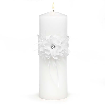 HBH™ Layers Of Lace 9 x 3 Unity Candle; White