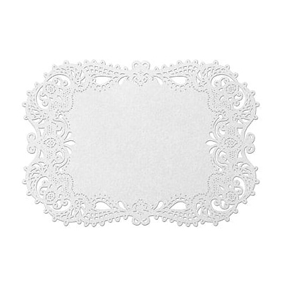 HBH™ 17 1/2 x 12 1/4 Place Mat With Laser-Cut Filigree Design, White, 12/Pack