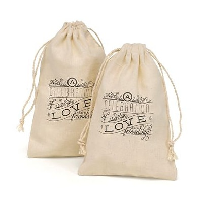 HBH™ 4 x 6 Celebration of Love and Friendship Cotton Favor Bag Set, White/Black, 25/Pack