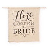 Brown Here Comes The Bride Burlap Sign