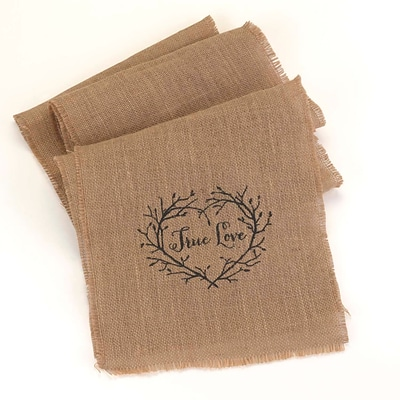 HBH™ 120 x 14 True Love Burlap Table Runner, Brown/black