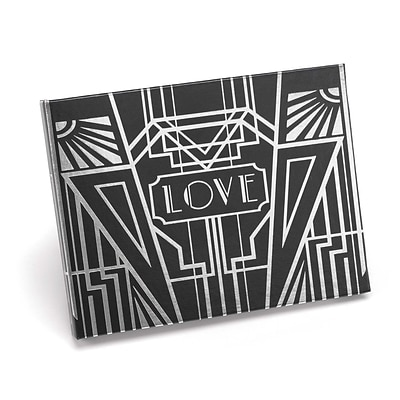 HBH™ Art Deco 7 1/2 x 5 3/4 Guest Book; Black With Silver Foil