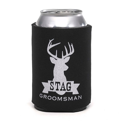 HBH™ 4 1/4 Stag Groomsman Can Cooler; Black