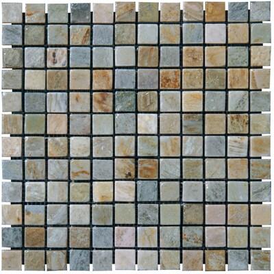 """MSI 1"""" x 1"""" Slate Mosaic Tile in Golden White"""