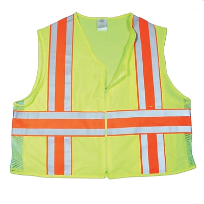 Mutual Industries MiViz ANSI Class 2 High Visibility Deluxe Dot Safety Vest With Pockets, Lime, L