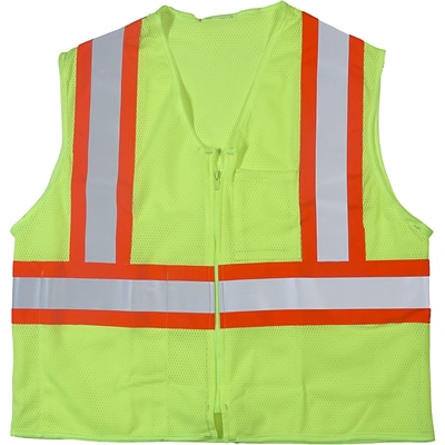 Mutual Industries MiViz ANSI Class 2 High Visibility Mesh Safety Vest, Lime, 2XL/3XL