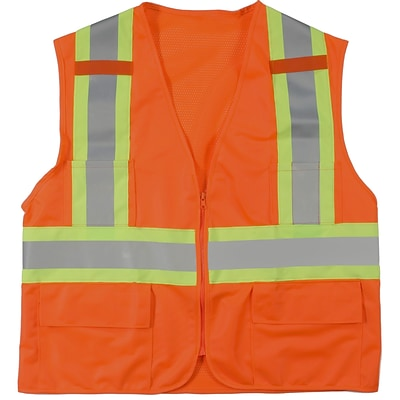Mutual Industries MiViz ANSI Class 2 High Visibility Surveyor Vest With Pockets, Orange, XL