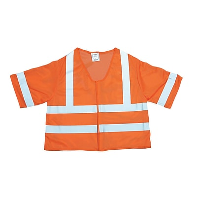 Mutual Industries MiViz ANSI Class 3 Mesh Safety Vest With Silver Reflective, Orange, 3XL