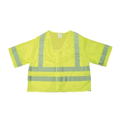 Mutual Industries MiViz ANSI Class 3 Mesh Safety Vest With Silver Reflective, Lime, Large