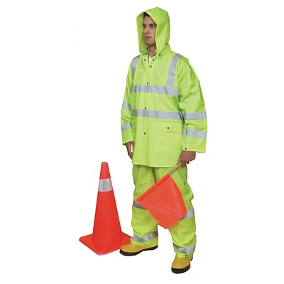 Mutual Industries ANSI Class 3 Three Piece PVC Rainsuit, Lime, Large