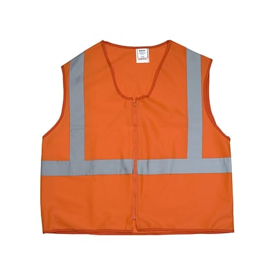 Mutual Industries Gann ANSI Class 2 Solid Durable Flame Retardant Safety Vest, Orange, Large