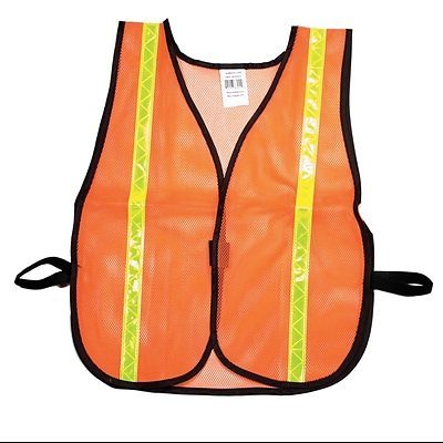 Mutual Industries MiViz Soft Mesh Safety Vest With 1 Lime/Yellow Reflective, Orange