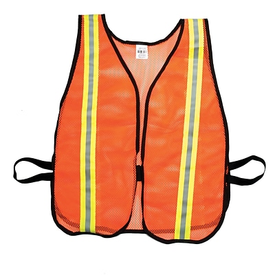 Mutual Industries MiViz Soft Mesh Safety Vest With 1 1/2 Lime/Silver/Lime Reflective, Orange