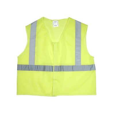 Mutual Industries Gann ANSI Class 2 Mesh Non Durable Flame Retardant Safety Vest, Lime, 2XL