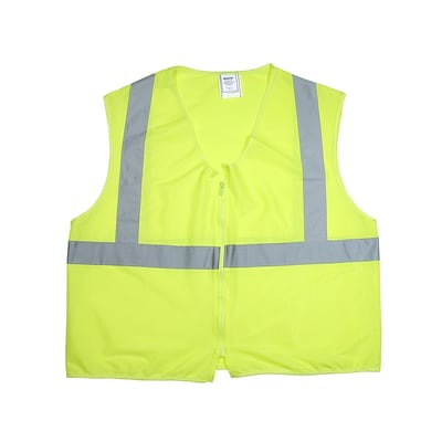 Mutual Industries Gann ANSI Class 2 Solid Non Durable Flame Retardant Safety Vest, Lime, 2XL