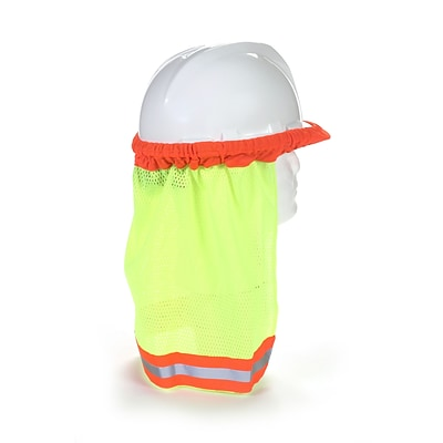 Mutual Industries Kromer ANSI Hard Hat Neck Shade With Reflective Stripes, Lime, 12/Pack