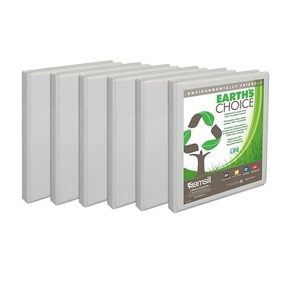 Samsill® Earths Choice™ View 1/2 Round 3-Ring Binder, White, 6/Pack (I08917)