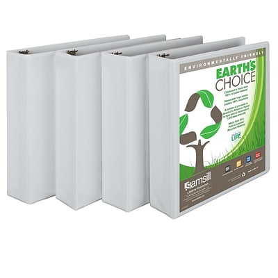 Samsill® Earths Choice™ Biodegradable View 2 Capacity Round Ring Binder, White