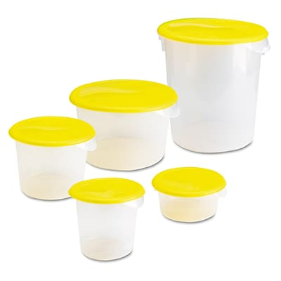 Polypropylene Quart Round Storage Container without Lids, Clear