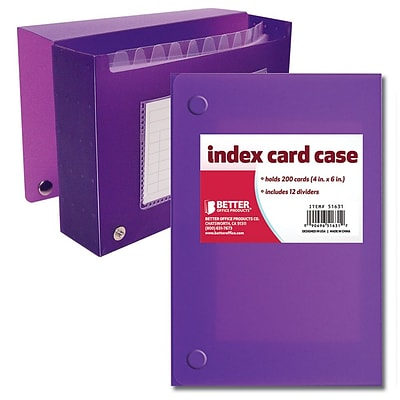 Better Office Products Frosted Index Card Case 4 x 6, 24/Pack