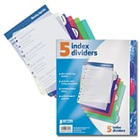 Better Office Products Dividers 5 Tab Poly Index;  12/Pack
