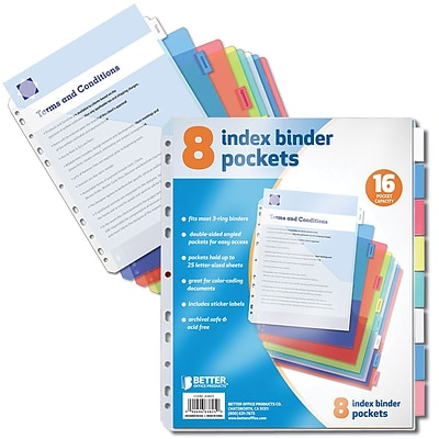 Better Office Products Paper 8 Tab Poly Index Dividers 6 x 9;  24/Pack