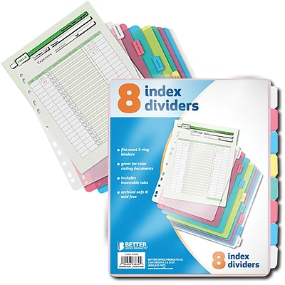 Better Office Products 8 Tab Poly Index;  12/Pack
