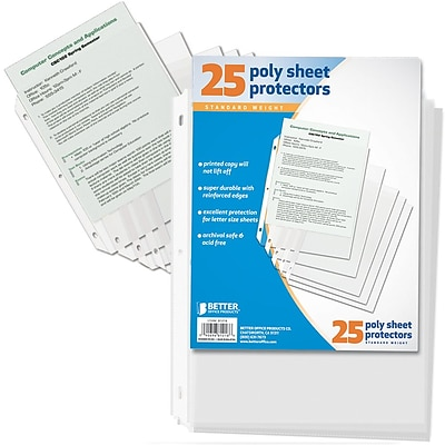 Better Office Products 25 Count Sheet Protectors;  12/Pack