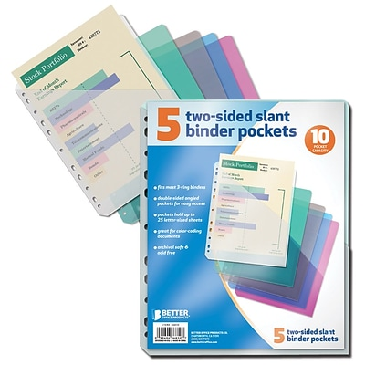 Better Office Products Slant Binder Pockets 5 Pack;  12/Pack