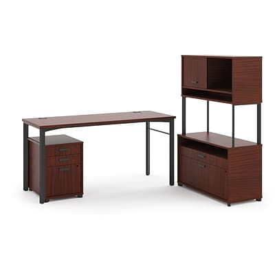 HON Manage L-Workstation, Desk, File Center, Pedestal, Overhead, 72W x 60D, Chestnut Laminate/Ash Finish NEXT2018 NEXTExpress