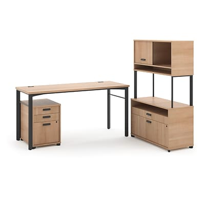 HON Manage L-Workstation, Desk, File Center, Pedestal, Overhead, 72W x 60D, Wheat Laminate/Ash Finish NEXT2018 NEXTExpress