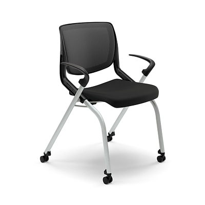 HON Motivate Nesting Stacking Chair, Black ilira Stretch Back, Fixed Arms, Onyx Shell, Black Fabric NEXT2018 NEXTExpress