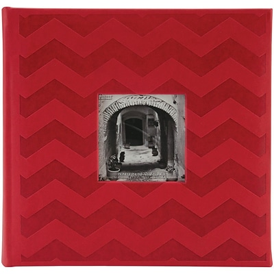 Pioneer™ 4 x 6 Embossed Leatherette 2-Up Book Bound Photo Album, Red Chevron