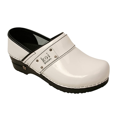 Sanita Footwear Leather Womens Lindsey Clog White Patent
