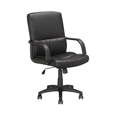 CorLiving™ Workspace Leatherette Tilting Back Executive Office Chair With Fixed Arms, Black