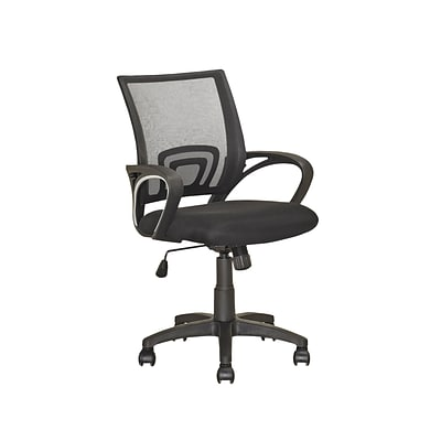 CorLiving™ Workspace Linen Fabric Office Chair With Fixed Arms/Mesh Back, Black