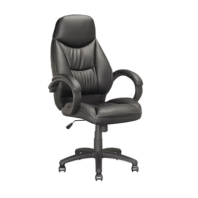 CorLiving™ Workspace Leatherette Executive Office Chair With Lumbar Support/Padded Arms, Black