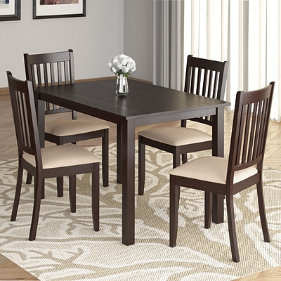 CorLiving™ Atwood 43 1/4 Hardwood Stained 5-Piece Dining Set W/Microfiber Seat, Cappuccino/Beige