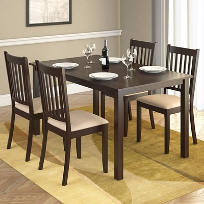 CorLiving™ Atwood 55 Hardwood/Wood Stained 5-Piece Dining Set W/Microfiber Seat, Cappuccino/Beige