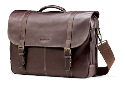Samsonite Leather Flapover Laptop Briefcase 17""
