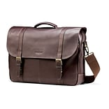 Leather Flapover Laptop Briefcase 17