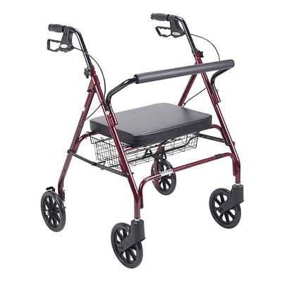 Drive Medical Heavy Duty Bariatric Rollator Rolling Walker with Large Padded Seat Red (10215RD-1)