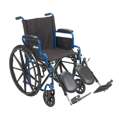 Drive Medical Blue Streak Wheelchair with Flip Back Desk Arms Elevating Leg Rests 18 Seat (BLS18FBD-ELR)