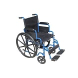Drive Medical Blue Streak Wheelchair with Flip Back Desk Arms Swing Away Footrests 18 Seat (BLS18FB