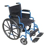 Drive Medical Blue Streak Wheelchair with Flip Back Desk Arms Swing Away Footrests 20 Seat (BLS20FB