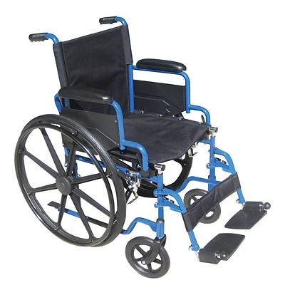 Drive Medical Blue Streak Wheelchair with Flip Back Desk Arms Swing Away Footrests 20 Seat (BLS20FBD-SF)
