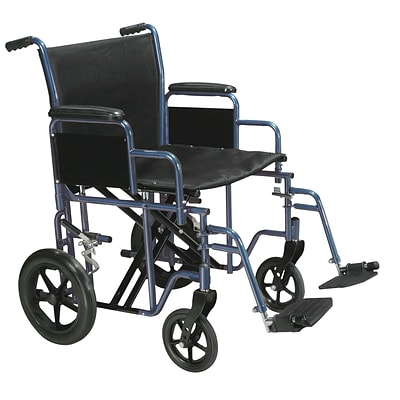 Drive Medical Bariatric Heavy Duty Transport Wheelchair with Swing Away Footrest 22 Seat Blue (BTR22-B)