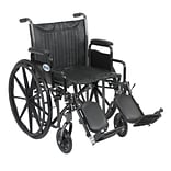 Drive Medical Silver Sport 2 Wheelchair Detachable Desk Arms Elevating Leg Rests 20 Seat (SSP220DDA